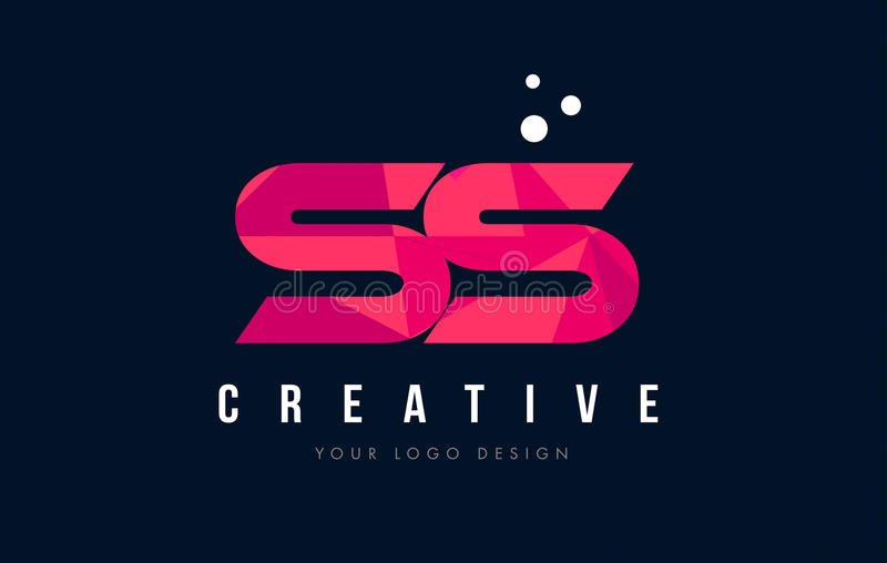 SS S S Letter Logo with Purple Low Poly Pink Triangles Concept stock illustration