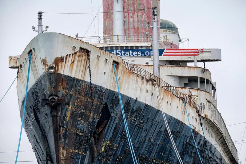 SS United States. Editorial photo of the rusting hulk of the once glorious SS United States, at dock in Philadelphia stock photography