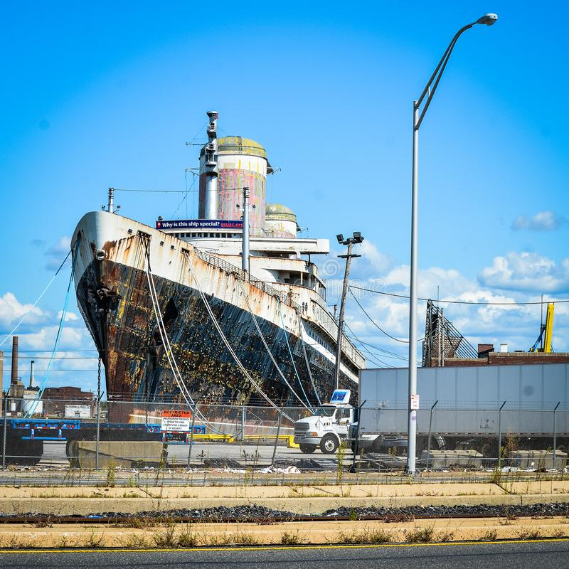 The SS United States in Philadelphia. Docked for many years. A large vessel in decay and uncertain future, and yet a majestic sight stock photo