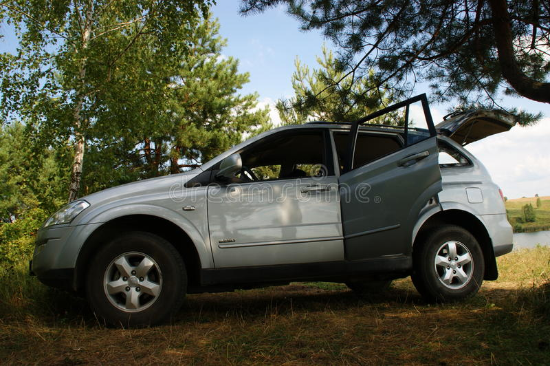 The SsangYong Kyron. Is a mid-size SUV built by the SsangYong Motor Company. It has a Mercedes-Benz diesel engine and was designed by MG's Ken Greenly. In 2007 stock images