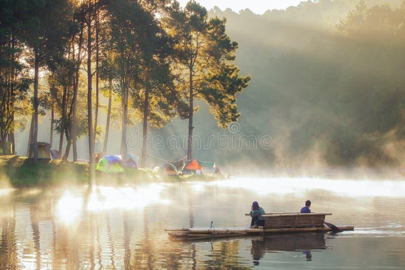 Ssanie w żołądku ung camping obrazy royalty free