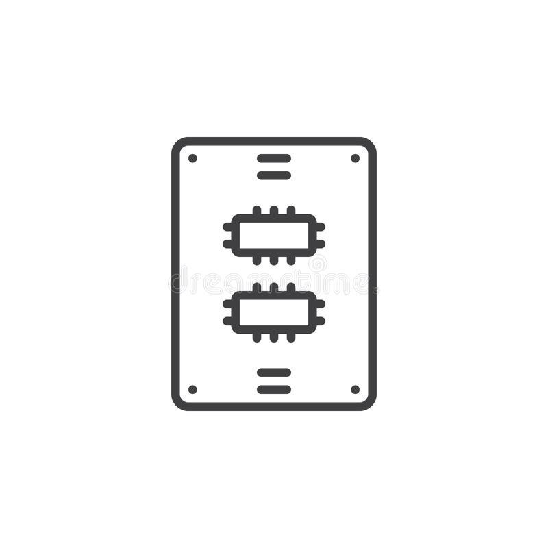 Ssd drive line icon, outline vector sign vector illustration