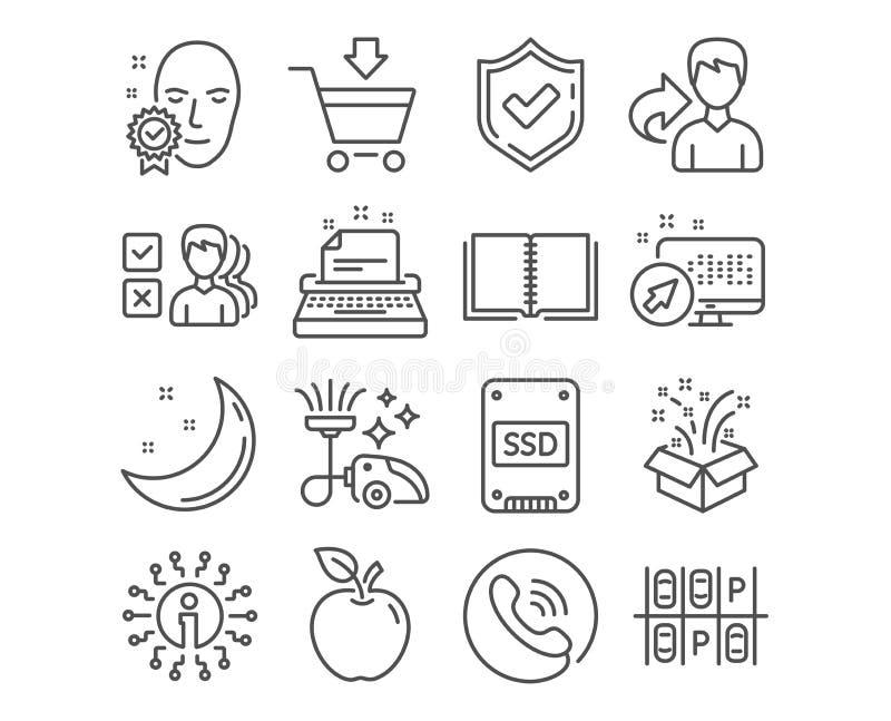 Ssd, Online markt en Schrijfmachinepictogrammen De gift, het Boek en het Gezicht verifieerden tekens Vector vector illustratie