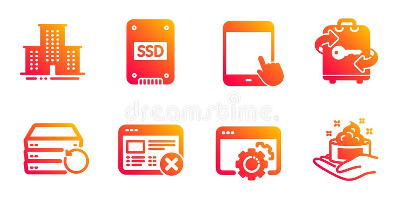 Ssd, Reject web and Tablet pc icons set. University campus, Seo gear and Recovery server signs. Vector. Ssd, Reject web and Tablet pc line icons set. University vector illustration