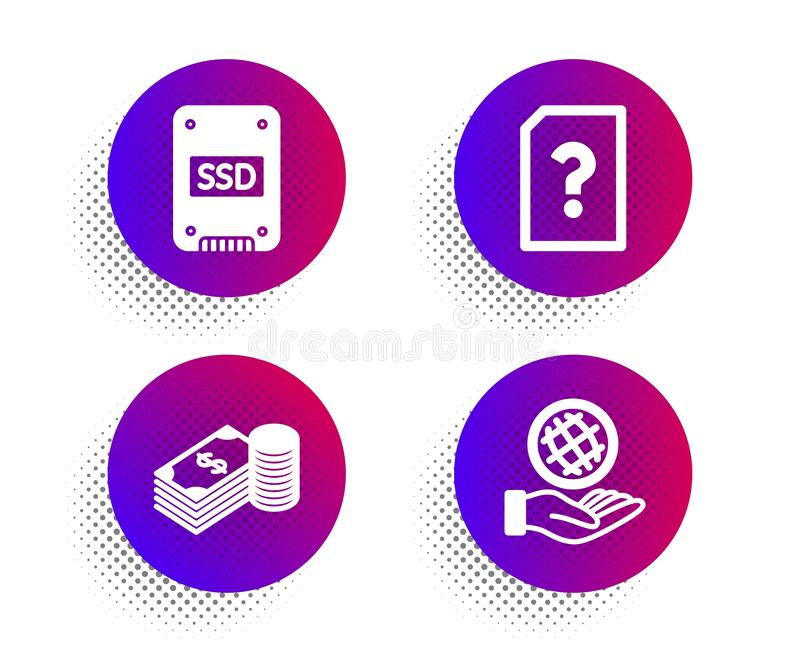 Ssd, Savings and Unknown file icons set. Safe planet sign. Vector vector illustration