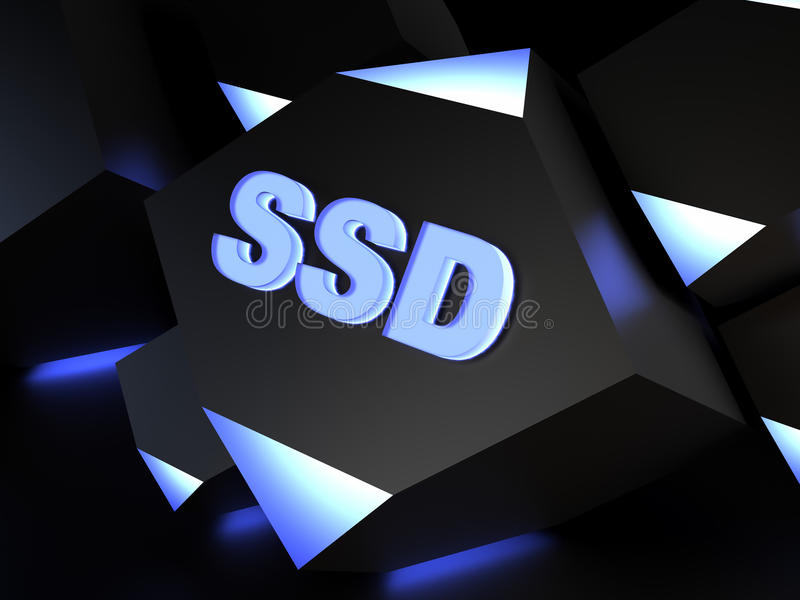SSD - solid-state drive or solid-state disk vector illustration