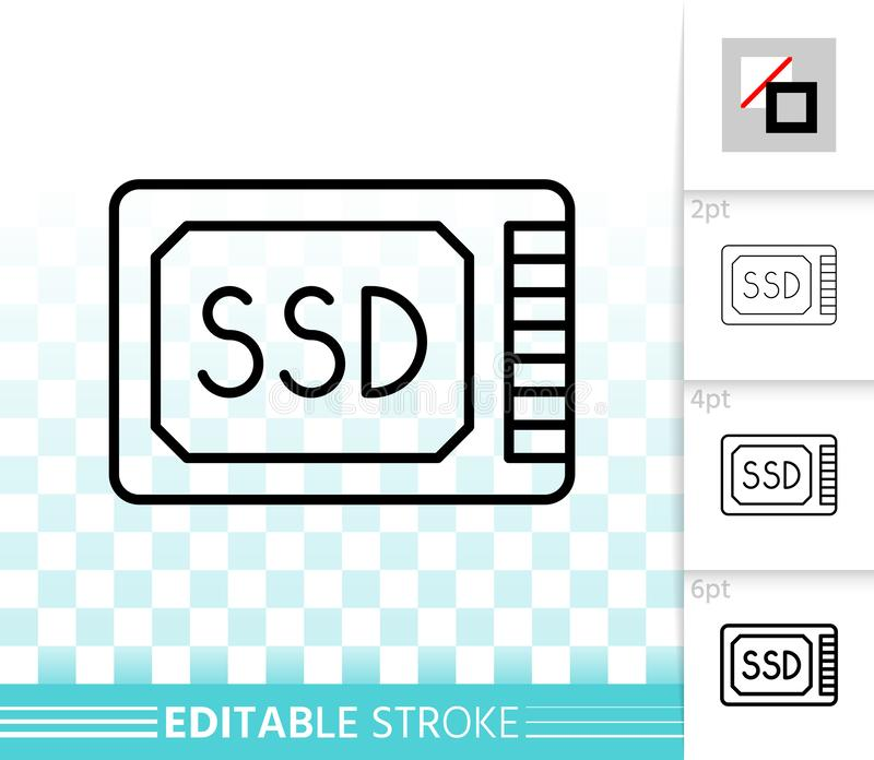 Ssd simple black line vector icon royalty free illustration