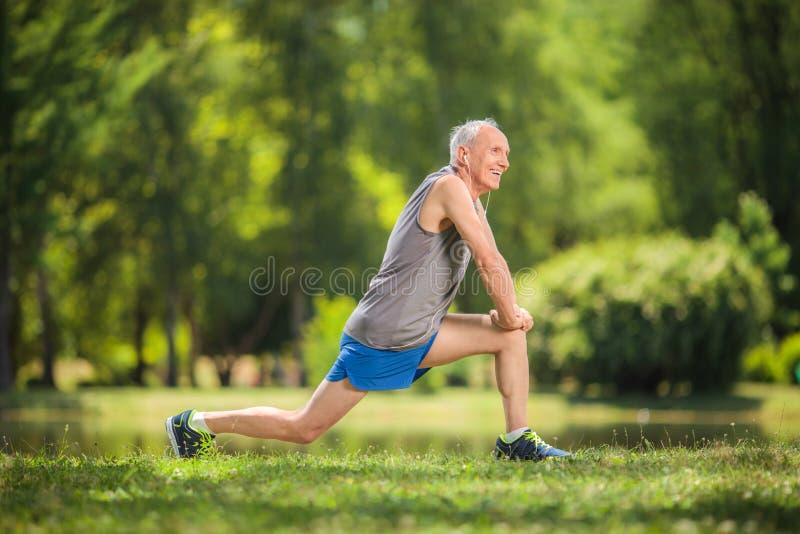 Ssenior uitrekkende oefeningen in een park stock foto
