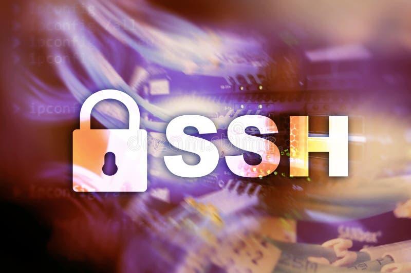 SSH - Asegure la conexión a internet de la red de la cáscara Sitio del servidor en fondo stock de ilustración