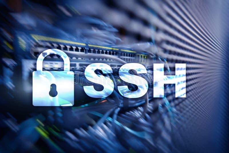 SSH - Asegure la conexión a internet de la red de la cáscara Sitio del servidor en fondo ilustración del vector