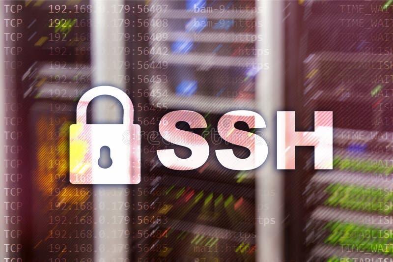 SSH - Beveilig shell de verbinding van netwerkinternet Serverruimte op achtergrond royalty-vrije illustratie