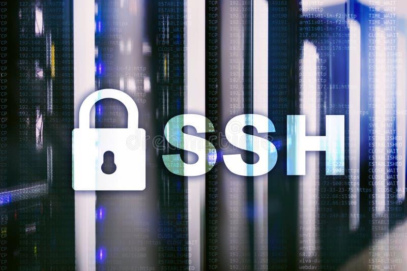 SSH - Beveilig shell de verbinding van netwerkinternet Serverruimte op achtergrond stock illustratie
