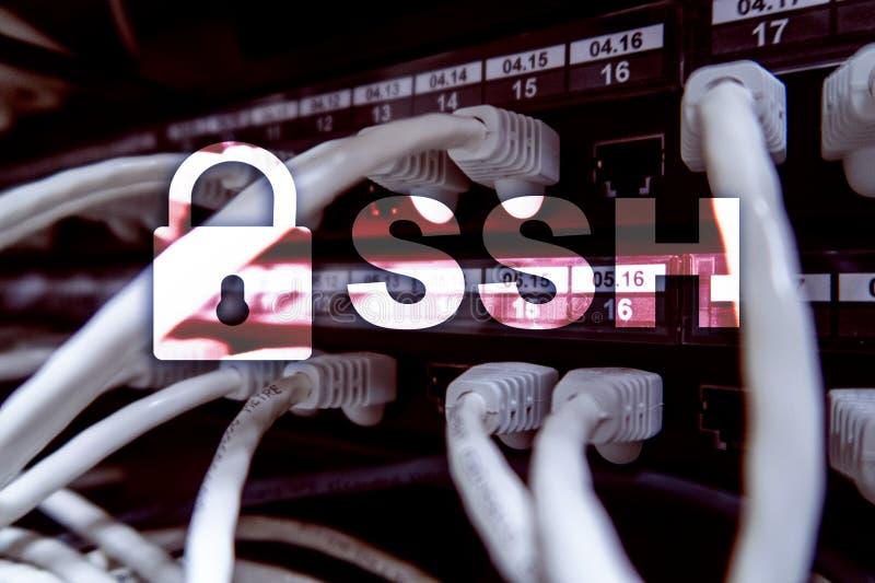 SSH, protocole sûr de Shell et logiciel Protection des données, Internet et concept de télécommunication photos libres de droits