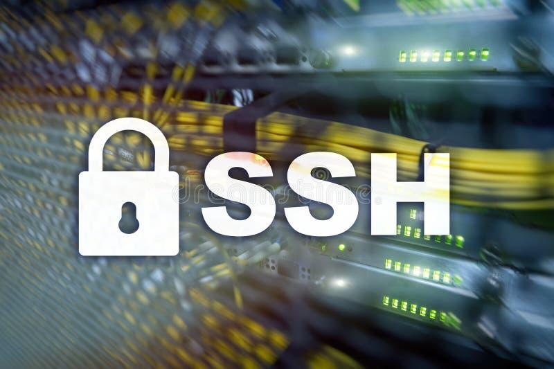 SSH, protocole sûr de Shell et logiciel Protection des données, Internet et concept de télécommunication photo libre de droits