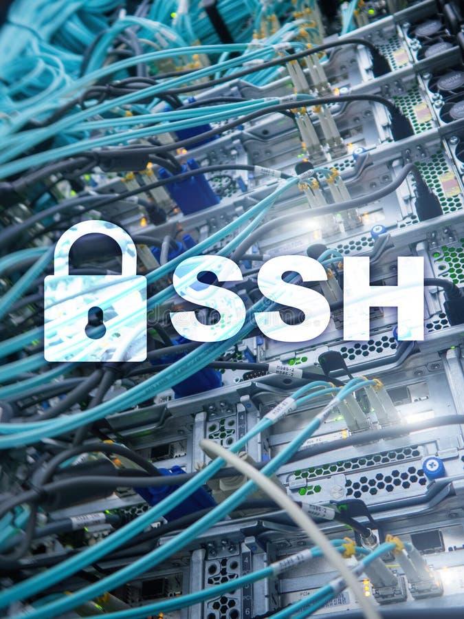 SSH, protocole sûr de Shell et logiciel Protection des données, Internet et concept de télécommunication photographie stock libre de droits