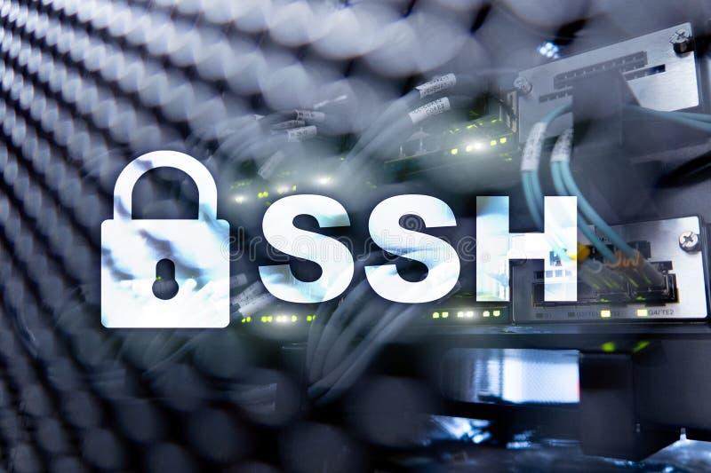 SSH, protocole sûr de Shell et logiciel Protection des données, Internet et concept de télécommunication photos stock