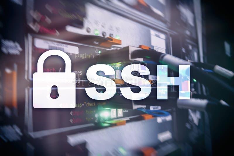 SSH, protocole sûr de Shell et logiciel Protection des données, Internet et concept de télécommunication images libres de droits
