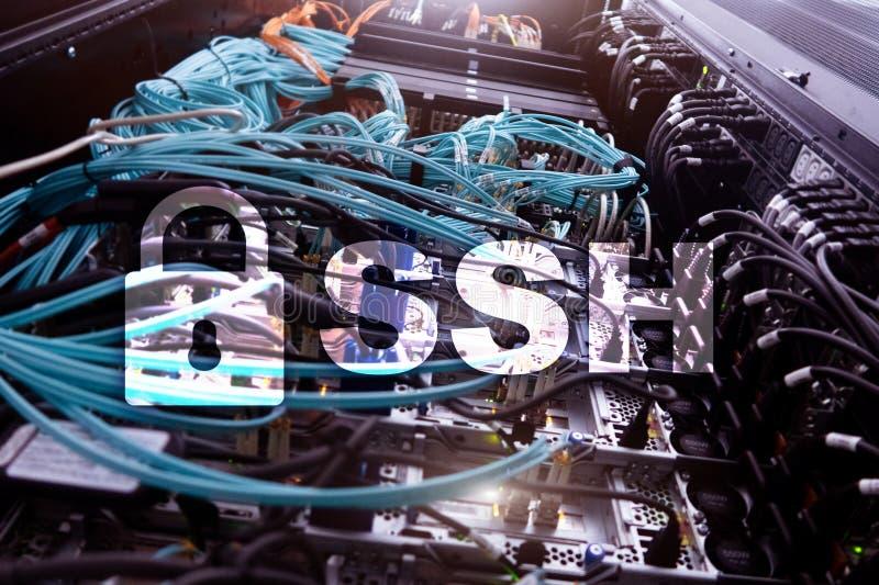 SSH, protocole sûr de Shell et logiciel Protection des données, Internet et concept de télécommunication photographie stock