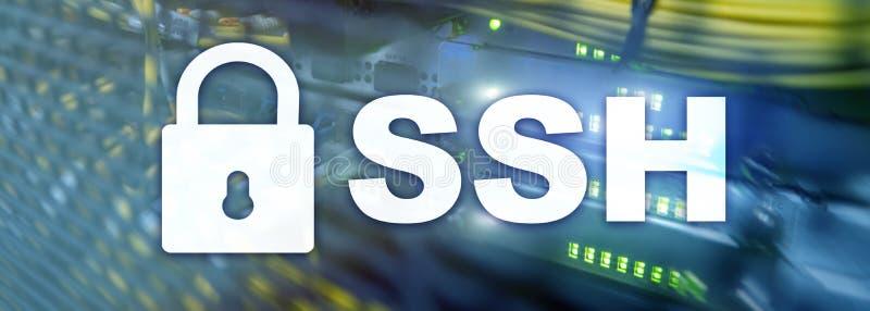 SSH, protocole sûr de Shell et logiciel Protection des données, Internet et concept de télécommunication illustration libre de droits