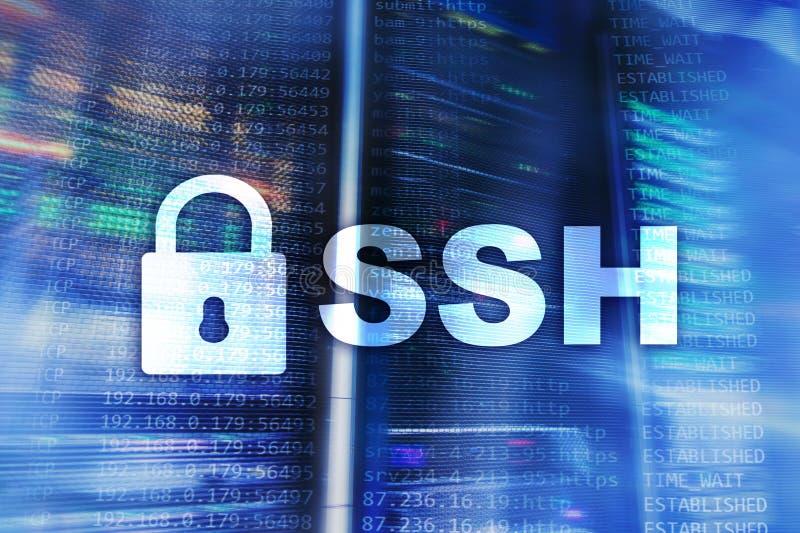 SSH, sicheres Shell-Protokoll und Software Datenschutz, Internet und Telekommunikationskonzept stock abbildung