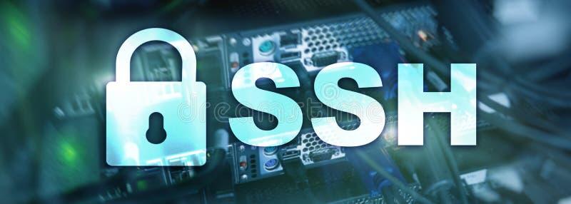 SSH, sicheres Shell-Protokoll und Software Datenschutz, Internet und Telekommunikationskonzept vektor abbildung