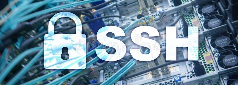 SSH, sicheres Shell-Protokoll und Software Datenschutz, Internet und Telekommunikationskonzept lizenzfreie stockfotografie