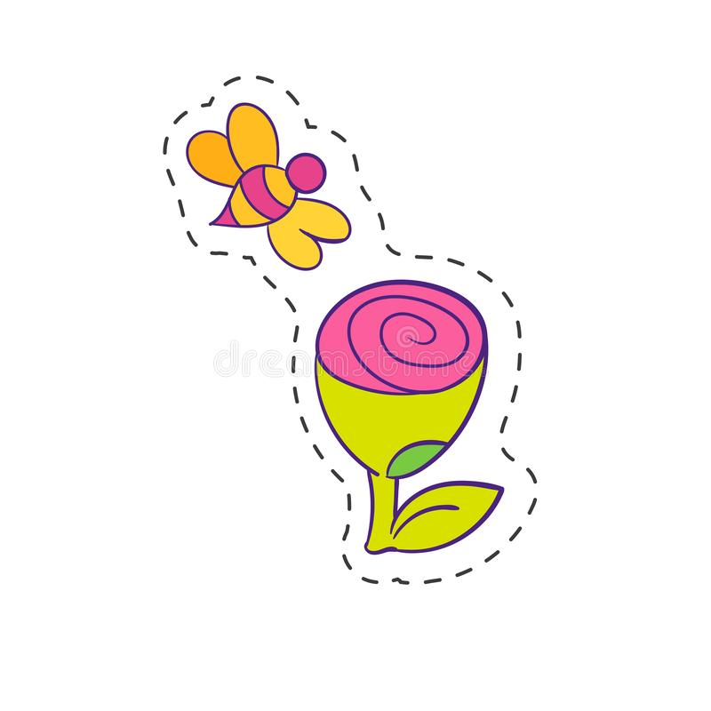 Ssingle-Gänseblümchenblume und -biene stock abbildung