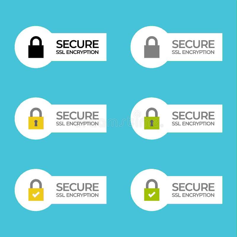 SSL安全加密标记/button /bar 免版税库存图片