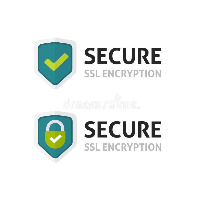 SSL证明传染媒介象,安全加密盾,获取锁标志 向量例证