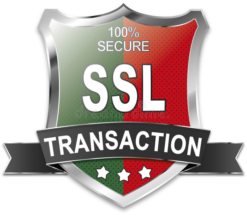 SSL 100% ασφαλής ασπίδα συναλλαγής ελεύθερη απεικόνιση δικαιώματος