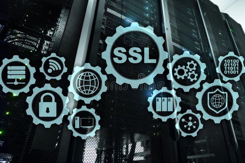 Ασφαλής έννοια στρώματος υποδοχών SSL Τα κρυπτογραφικά πρωτόκολλα παρέχουν τις εξασφαλισμένες επικοινωνίες Υπόβαθρο δωματίων κεντ ελεύθερη απεικόνιση δικαιώματος