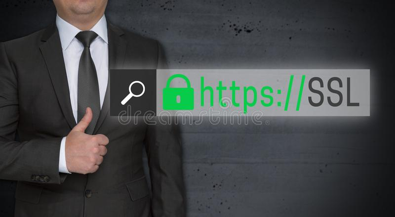 SSL browser concept and businessman with thumbs up royalty free stock photo