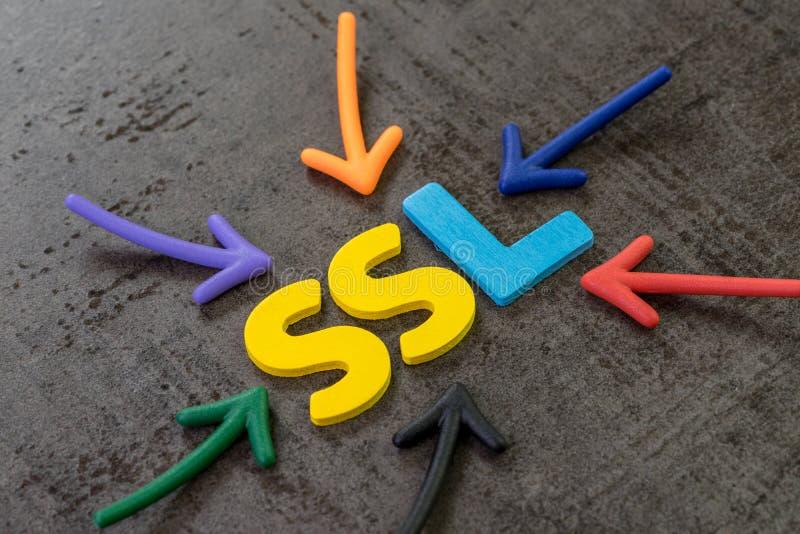 SSL, Secure Sockets Layer pojęcie, wielo- kolor strzały wskazuje słowo SSL przy centrum czerń cementu chalkboard ściana, zdjęcia royalty free