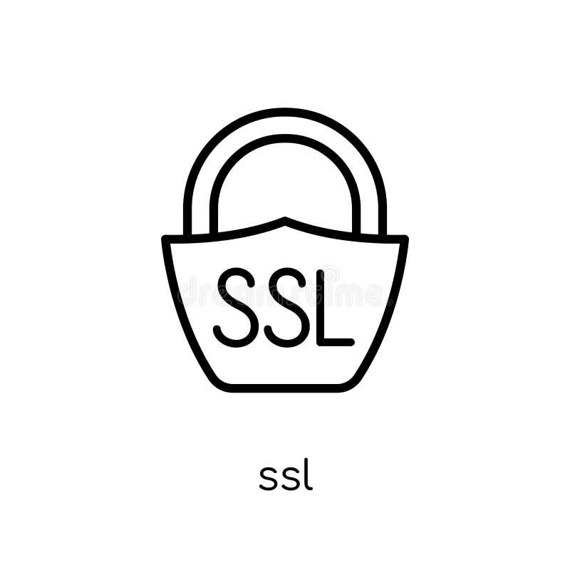 Ssl-symbol Moderiktig modern plan linjär vektorSsl-symbol på vit bac royaltyfri illustrationer