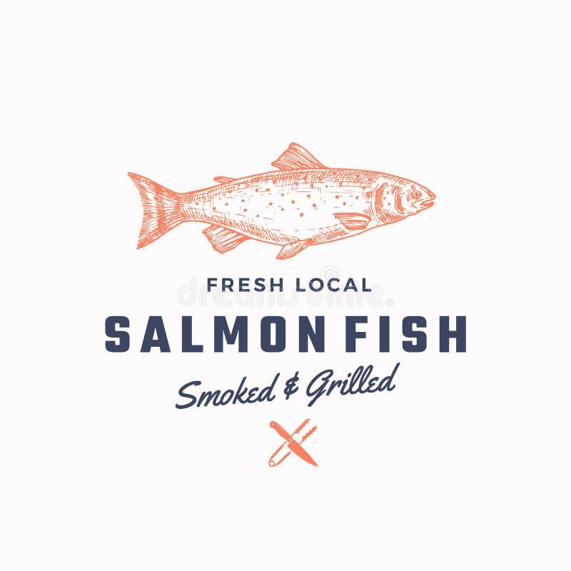 Ssmoked e Salmon Abstract Vetora Sign grelhado, símbolo ou Logo Template Salmon Fish tirado mão com retro elegante ilustração do vetor