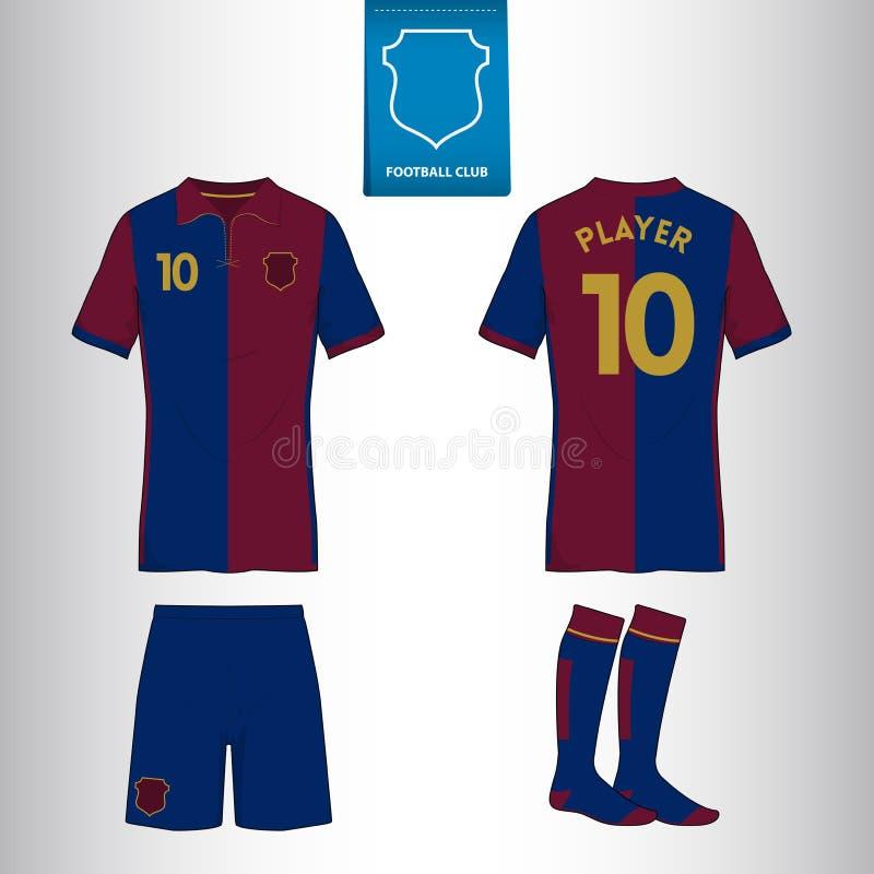 Ssoccer o modello del jersey di calcio per il vostro club di calcio nel retro stile royalty illustrazione gratis
