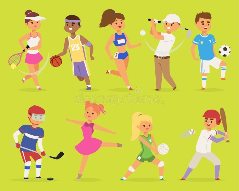 Ssportsmen传染媒介漫画人物男孩和女孩人篮球,曲棍球,棒球,跑的愉快的字符体育 向量例证
