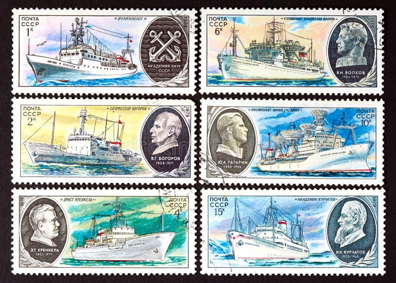 SSR - OKOŁO 1979: serie znaczki drukujący w USSR, przedstawienia badania statki OKOŁO 1979, obrazy royalty free