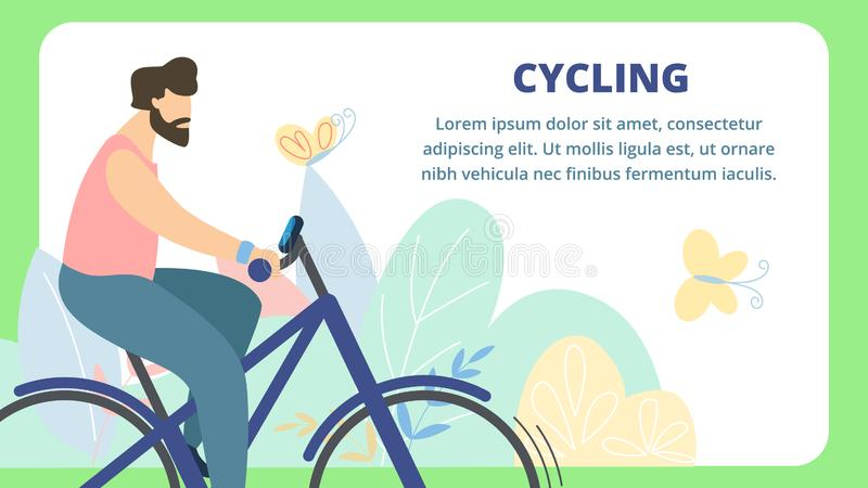 Ssummer Flyer is Written Cycling Cartoon Flat. Adventure Poster Man Speed Riding Bike on Background Summer Nature. Banner Interesting Events on Cycling During royalty free illustration
