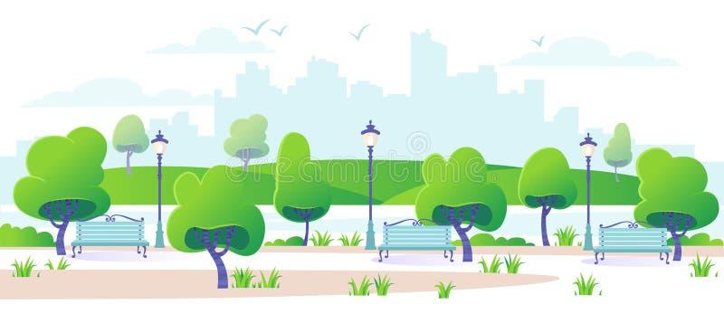Städtisches Stadtpark-Landschaftspanorama Feld des grünen Grases gegen einen blauen Himmel mit wispy weißen Wolken stock abbildung