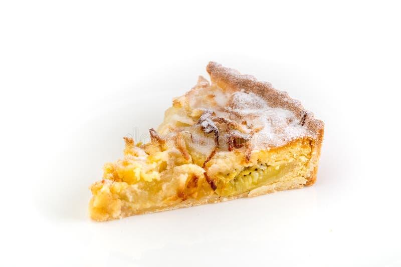 Stück der Torte auf weißem Hintergrund stockfoto