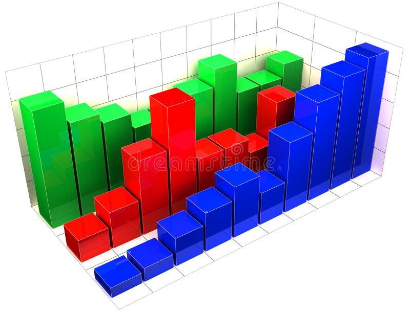 Stäbe des Diagramms 3d lizenzfreie abbildung