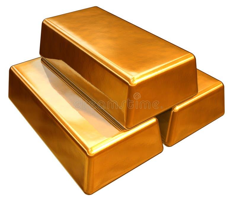 Stäbe des Gold 3d lizenzfreie abbildung
