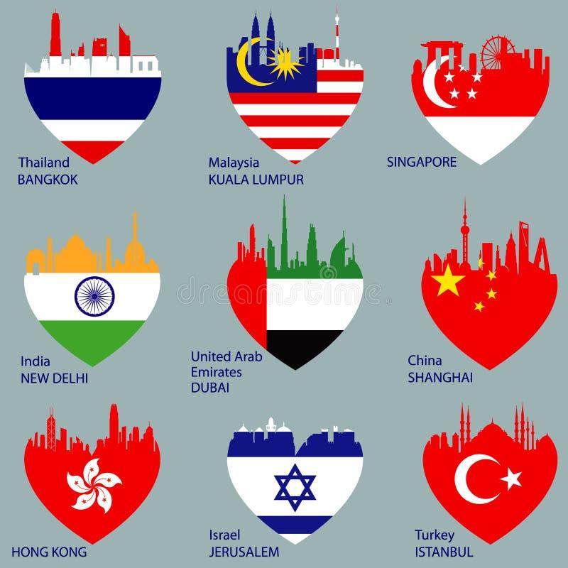 städer stock illustrationer