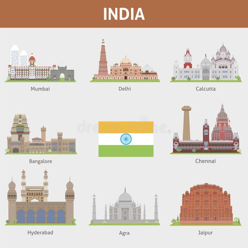 Städer av Indien stock illustrationer
