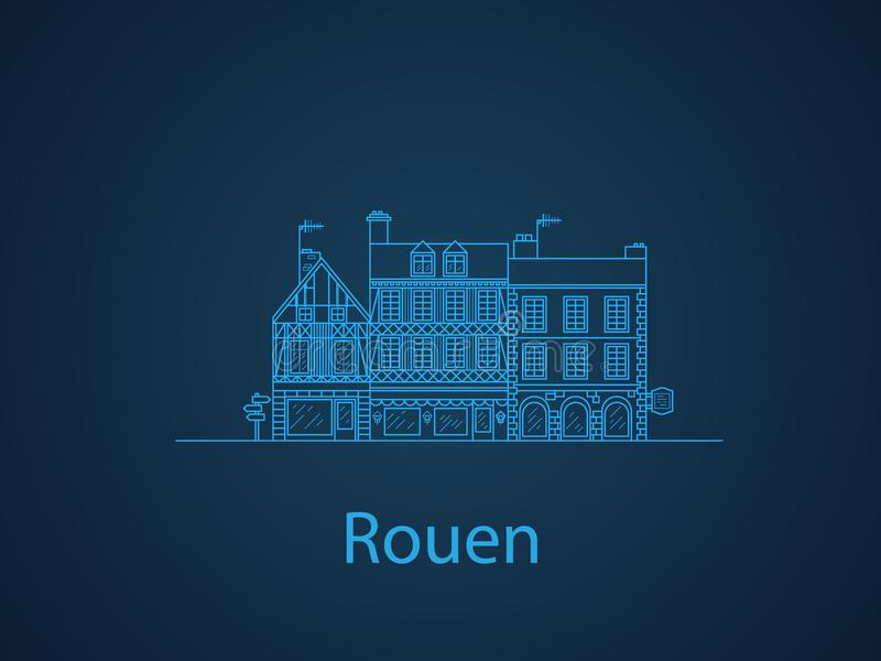 Städer av Normandie, Rouen europeiska hus Olika format och konstruktioner Gamla hus av Europa sänker vektorn i linjer vektor illustrationer