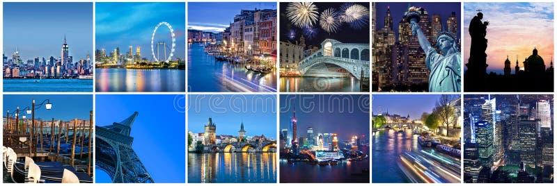 Städer av ordet på natten, panorama- collage arkivfoton