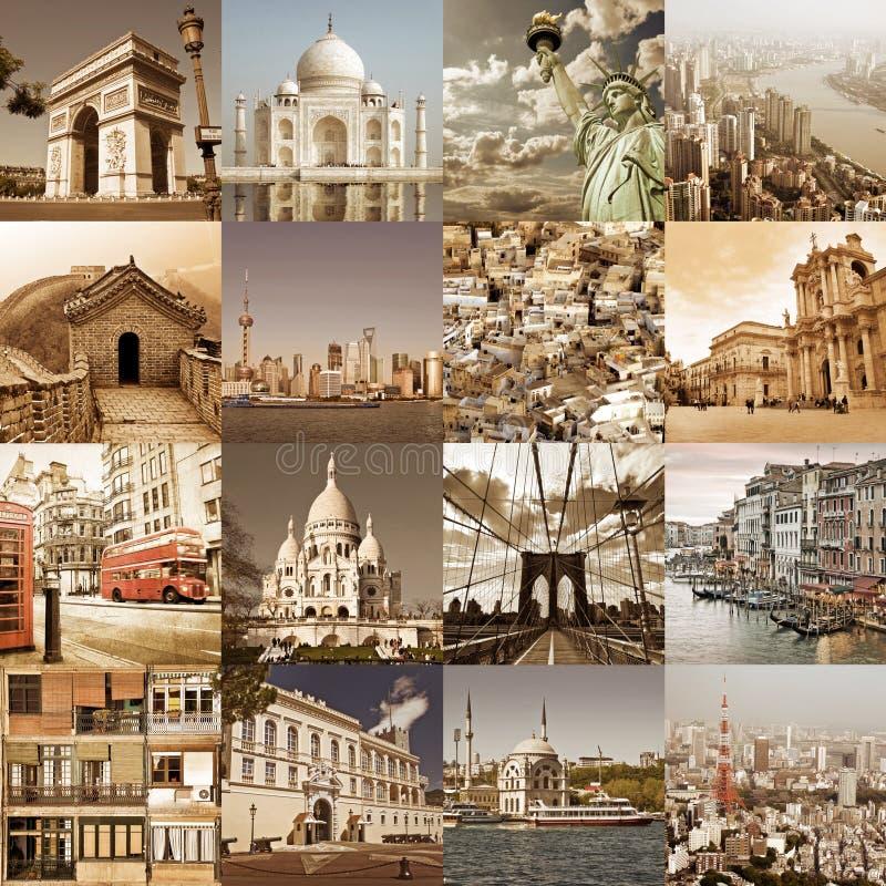 Städer av världstappningcollaget, begrepp för stadsloppturism arkivbild