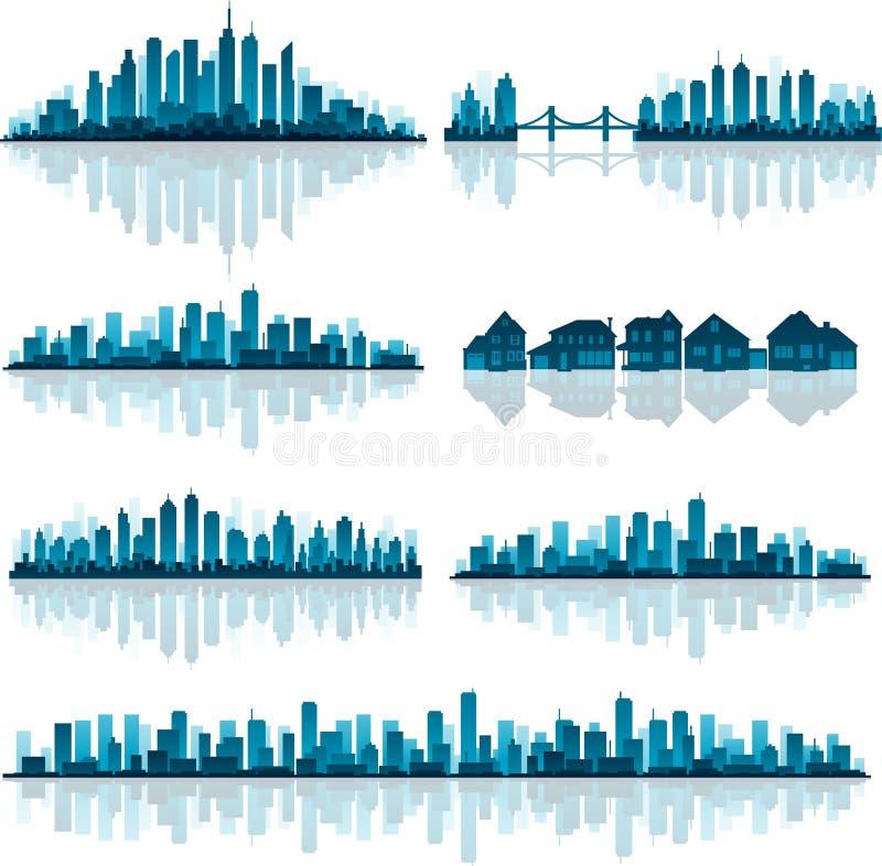 städer detailed set silhouette royaltyfri illustrationer