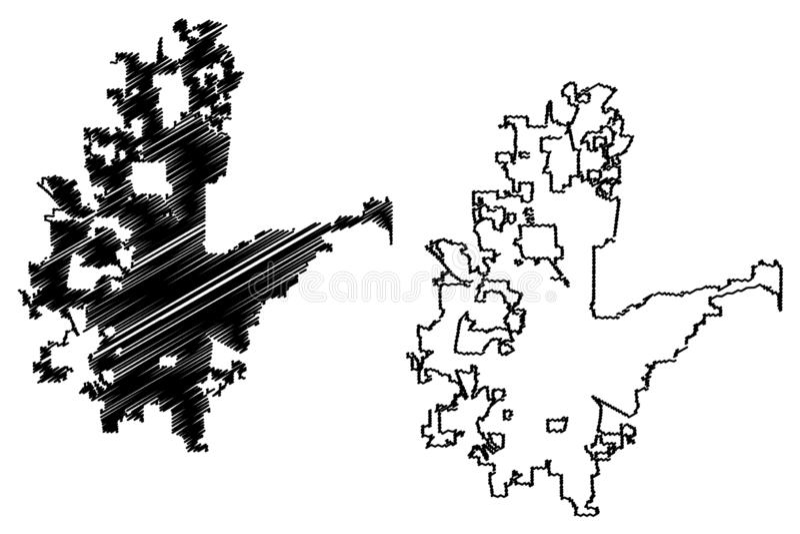 Städer för Fort Worth stadsFörenta staterna, för stadsöversikt för Amerikas förenta stater, USA illustration för vektor, klottrar royaltyfri illustrationer